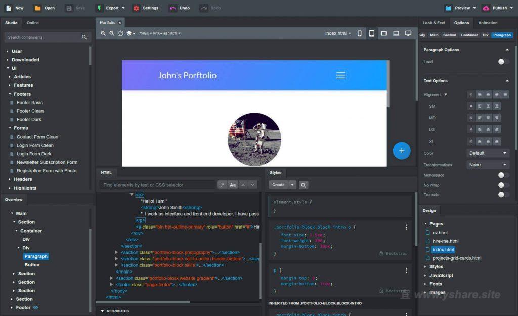 Bootstrap Studio for Mac V4.1.7 破解版 (使用Bootstrap框架制作响应式网站)